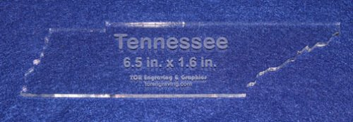 """State of Tennessee 6.5"""" x 1.6"""" ~ 1/4"""" Quilt Template- Acrylic - Long Arm/ Sew"""