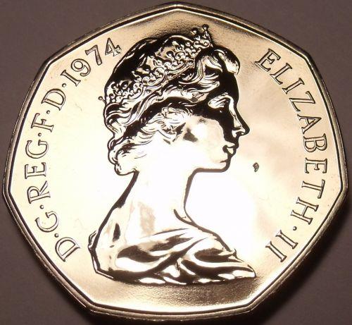 Great Britain 1974 50 Pence Proof~Britannia~Scarce