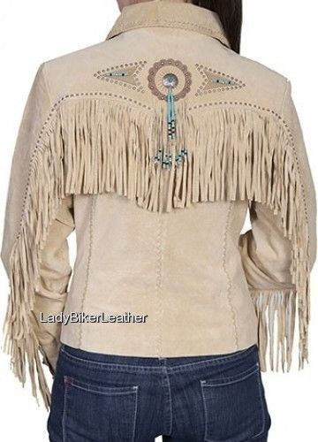 LADIES Beaded WESTERN Fringe CREAM or BLACK Premium SUEDE Leather Jacket CONCHOS