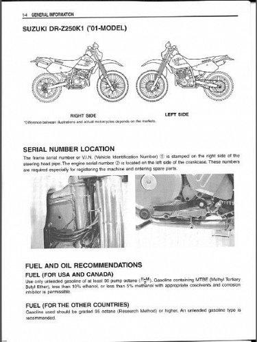 2001-2009 Suzuki DR-Z250 Service Manual on a CD - DRZ250