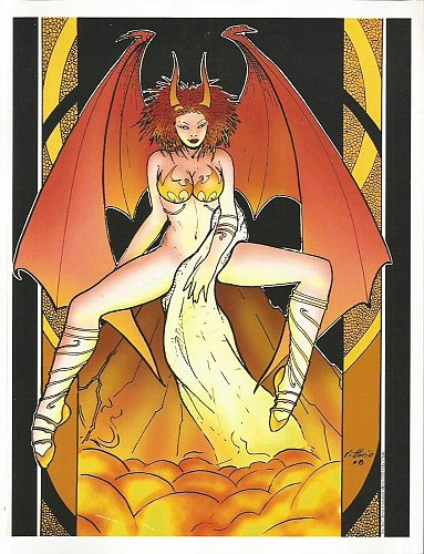 ORIGINAL ART: by Vittorio Devilish Girl B&W;+actual art plus print+more