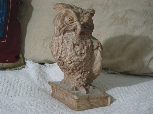 AILIENA Marble Owl On Book Statue Figure One Bookend