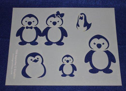 Cartoon Penguin Stencils 3 Pieces-Mylar 14 Mil Painting/Crafts/Stencil/Template