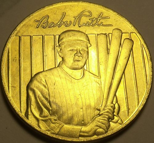 22k Gold Plated Babe Ruth World Series Lifetime Statistics Medallion~Free Ship