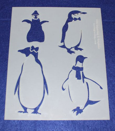 2 -Mylar 14 Mil Penguin Stencils Painting/Crafts/Stencil/Template