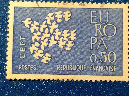 Europa France 1v Used Stamp 1961 Used dove made up of 19 individual doves