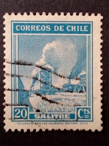 CHILE 1938 STAMP wmk 1v Used SALTPETER VISTAS Y PAISAJES