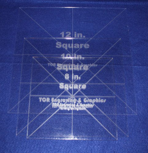 """3 Pc Square Set 8"""", 10"""", 12"""" - 1/8"""" Clear Acrylic - Quilting Templates- No seam"""