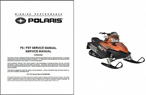 2006-2008 Polaris FS / FST 4-stroke Snowmobiles Service Repair Manual CD