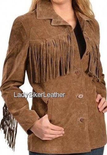 Ladies BOHO Hippie Biker CINNAMON Premium SUEDE Leather Fringe WESTERN Jacket