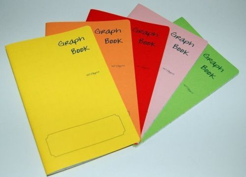 5 x A5 style GRAPH School Exercise books mixed coloured cover 40 pages