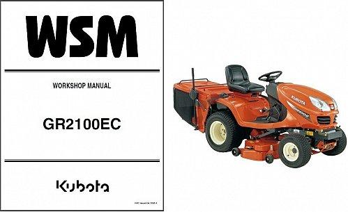 Kubota GR2100 (GR2100EC) Diesel Ride-On Tractor Mower WSM Service Manual on a CD