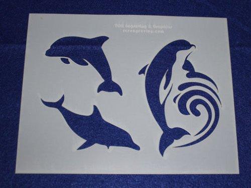 2 Piece Set -Mylar 14 Mil Dolphin Stencils Painting/Crafts/Stencil/Template