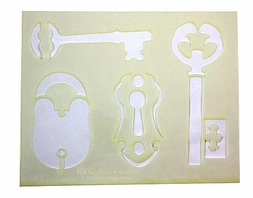Locks-Keys Stencils- 2 Pc Set- 8 x 10 -14 mil Mylar Painting/Crafts