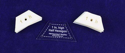 "Mylar 1"" High- Half -Hexagon- 51 Piece Set - Quilting / Sewing Templates -"