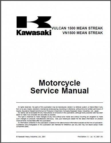 Kawasaki Vulcan 1500 / VN1500 Mean Streak Service Manual on a CD
