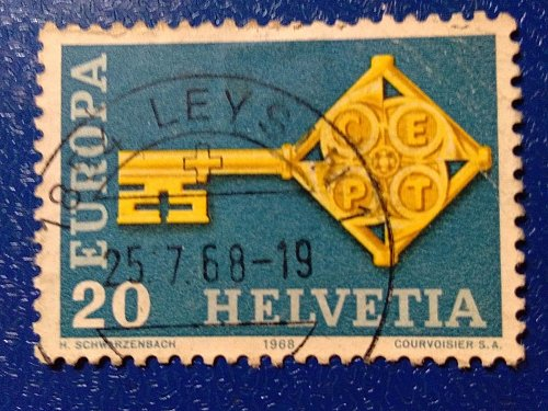 Europa Swiss Stamp 1968 Used key with the CEPT logo in handle