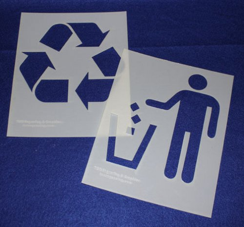 Recycle-Trash Stencils- 2 Pc Set- 14 mil Mylar Painting/Crafts/Stencil/Template