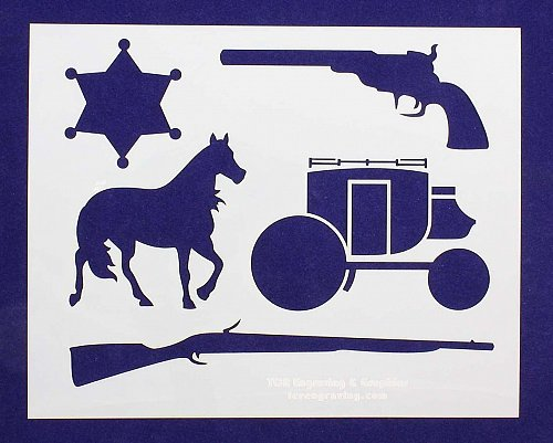 Old West Themed Stencils 2 pc set 14 mil mylar Painting/Crafts/Stencil/Template