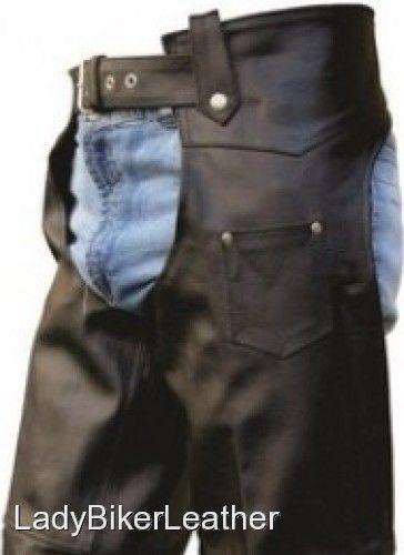 Mens LADIES BIKER Heavy Duty SOFT Black Leather MOTORCYCLE CHAPS Hip Pocket