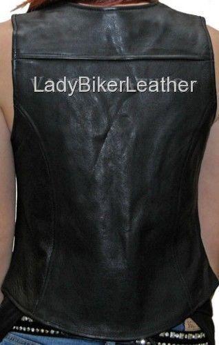Ladies Biker SOFT Black PREMIUM Leather MOTORCYCLE Vest ORANGE LINER or LACES