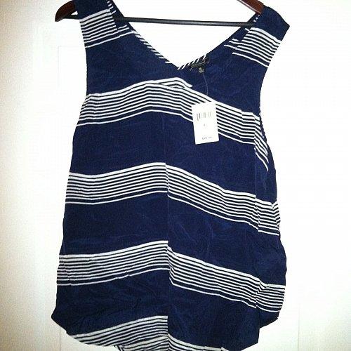 Lucky Brand Women`s XL Striped Surplice-Back Tank Top Silk NWT Retails $99.00