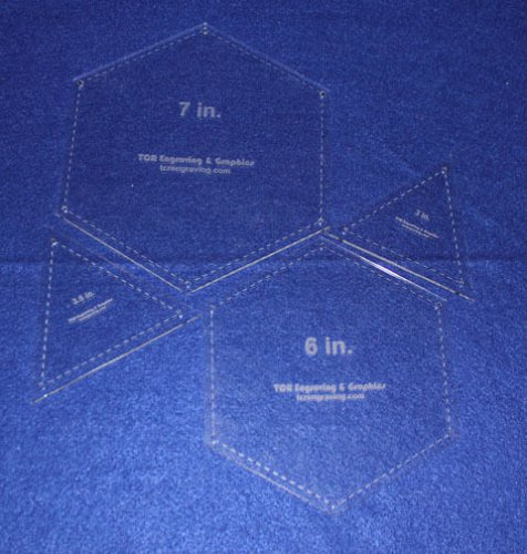 """Quilt Templates-4 Piece Set- Hexagons 6"""" & 7"""" & Equilateral Triangles 1/8"""""""