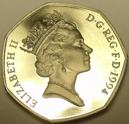Gem Cameo Proof Great Britain 1994 50-Pence~World War II Noramandy Invasion~Fr/S