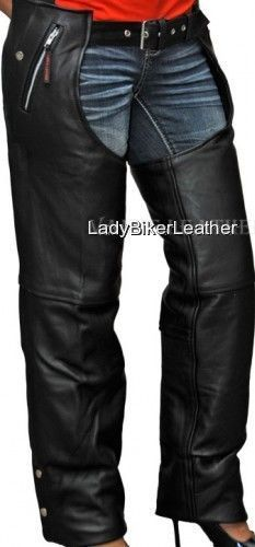 Mens LADIES BIKER Black PREMIUM Leather MOTORCYCLE CHAPS Over Pants TAPERED LEG