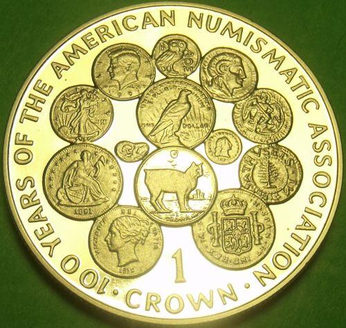 Cameo Proof Isle Of Man 1991 Dollar~100th Anniv American Numismatic Association