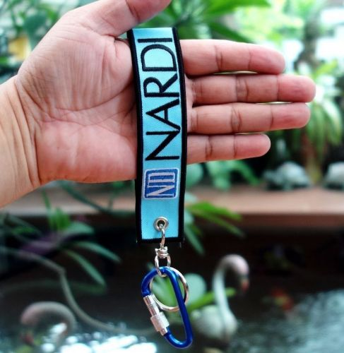 NARDIKeychain Keyring Key Holder Embroidered Blue Fabric Strap Tag Motorcycle