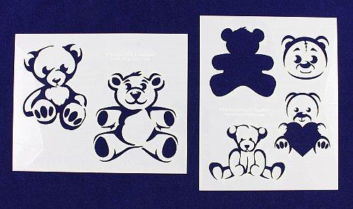 Teddy Bear Stencils-2pc -Mylar 14 Mil Painting/CraftsTemplate