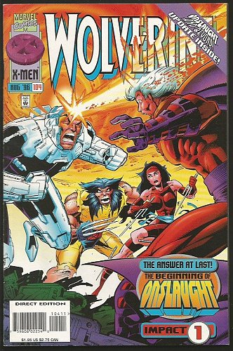 WOLVERINE #104 Marvel Comics 1996 Onslaught Begins 1stLongSeriesDIRECT Impact 1