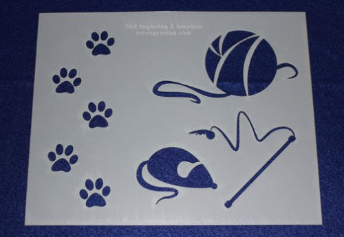 2 -Mylar 14 Mil Cat Cat Toys Stencils Painting/Crafts/Stencil/Template/