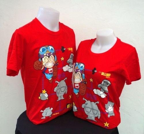 Dr.Slump red Cotton 100% T-Shirt Akira Tonyama,Shueisha, Toei Animation