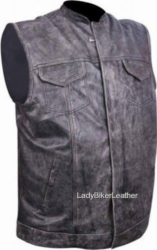 Mens SNAP/ZIP Distressed BROWN Leather CONCEALED CARRY Motorcycle CLUB Vest SOA