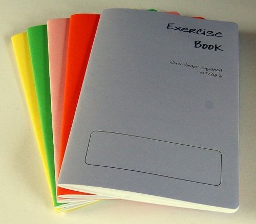 5 x A5 - 10mm squared Exercise / Practice books assorted coloured cover 40 pages