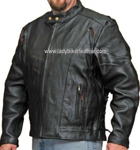 MENS BIKER Black PREMIUM Leather PADDED VENTED Racer MOTORCYCLE Jacket LACES