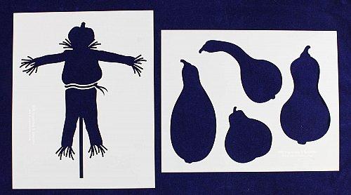 Scarecrow/Pumpkin Stencils-2 Piece Set-Mylar- Painting/Crafts/Template