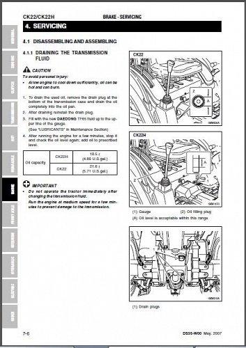 Kioti CK22 / CK22H Tractor Repair Service Workshop Manual CD -- CK 22