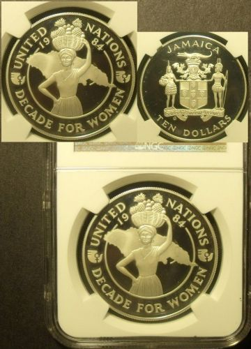 Jamaica 1984 $10 NGC Proof 67 Ultra Cameo Decade For Women~Rare 1,100 Minted