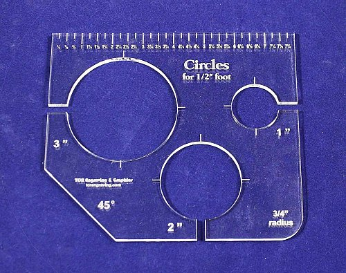 """3 Hole Circle Quilt 1,2,3 Template w/Ruler 1/4"""" Thick - Long Arm- For 1/2"""" Foot"""