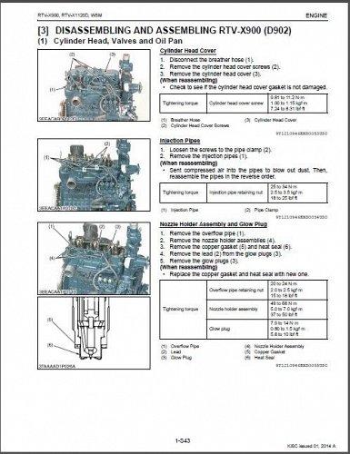 Kubota RTV-X900, RTV-X1120D UTV Service Manual on a CD