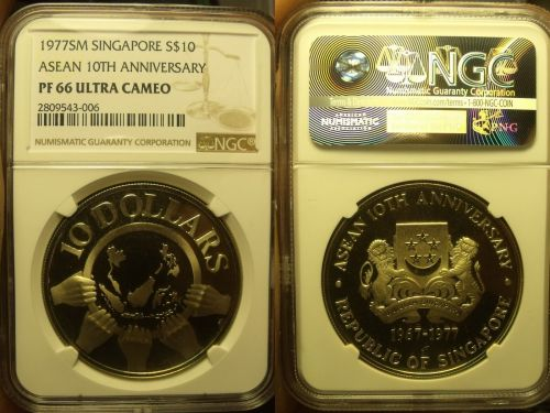 Singapore 1977-SM $10 NGC PF-66 ULTRA CAMEO~Asean 10th Anniversary~10k Minted~FS