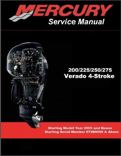 Mercury 200 225 250 275 Verado 4-Stroke Outboard Motors Service Manual on a CD