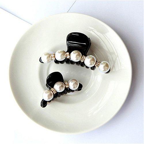 Women Girl Fashion Black Crystal Pearl Rhinestone Hair Clip Claw Jewelry 2 pcs