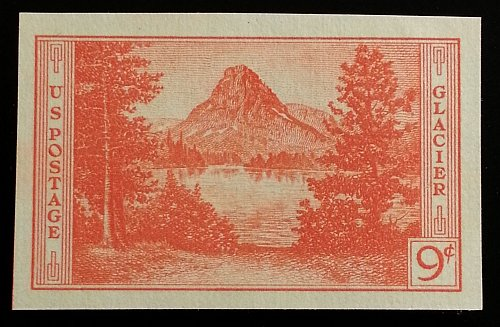 1935 9c Glacier, Imperforate Single Stamp issued without gum Scott 764 Mint NH