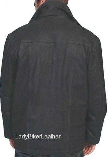 MENS Black PREMIUM Leather VINTAGE CAR COAT Jacket REMOVABLE Knit FRONT Collar