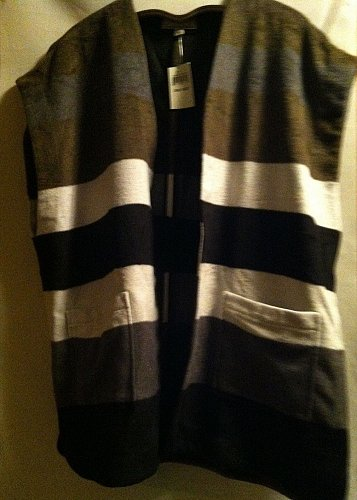 Lucky Brand Syle 7W30638 Striped Wool Poncho Wool Blend