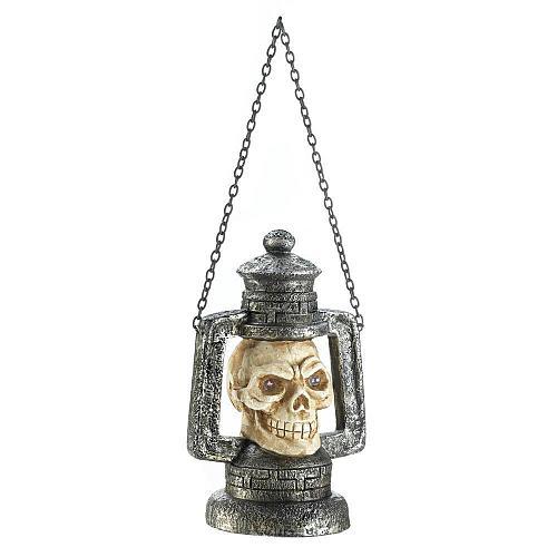 *17684U - Skull Head Lantern Figure w/LED Light